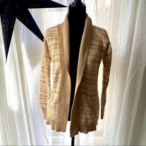 Rubbish tan cream open front knitted cardigan cozy